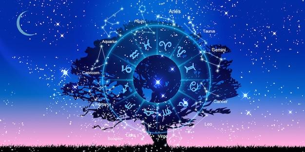 Sternzeichen innerhalb des horoskopkreises. astrologie am himmel, horoskopkonzept