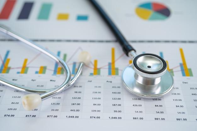 Stethoskop auf diagrammen und diagrammpapier