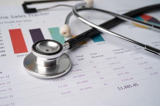 Stethoskop auf diagrammpapier