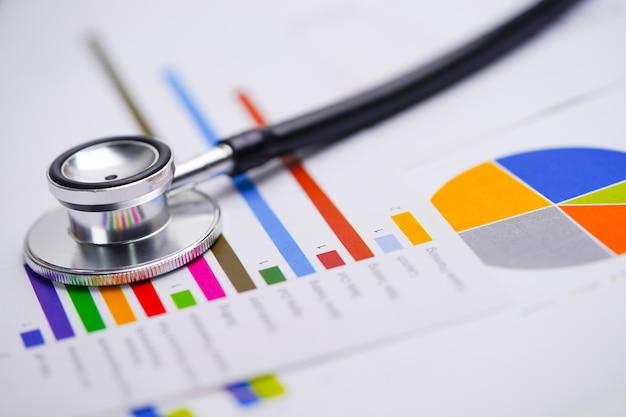 Stethoskop auf tabellenkalkulationspapier der diagramme und der diagramme.