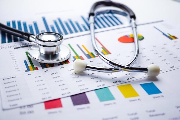 Stethoskop, diagramm-diagrammpapier, finanzierung, konto, statistik, analytische wirtschaft geschäft