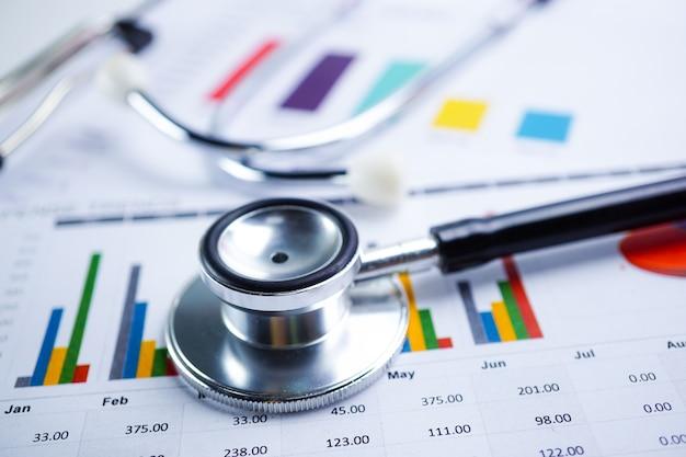 Stethoskop, diagrammpapier, finanzen, konto, statistik, analytische wirtschaft