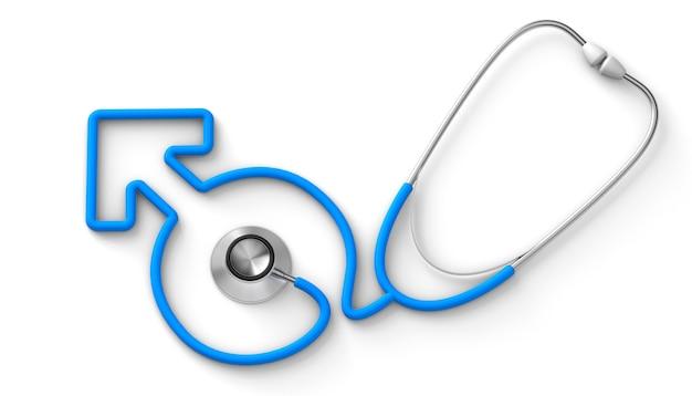 Stethoskop in form eines männlichen geschlechtssymbols ein arzt für männer isoliert auf weißem hintergrund