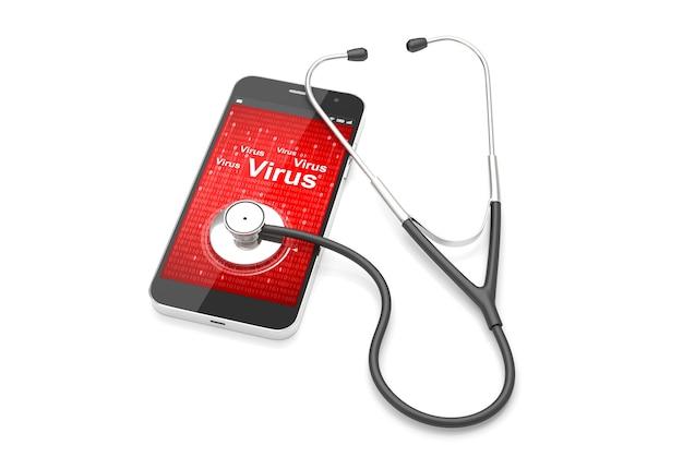 Stethoskop mit smartphone auf dem weißen hintergrund