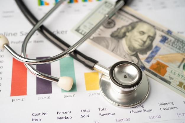 Stethoskop und us-dollar-banknoten auf diagramm- oder millimeterpapier