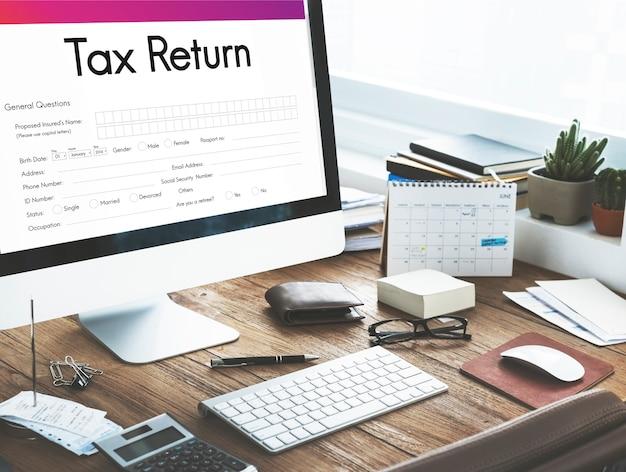 Steuererklärung finanzformular konzept