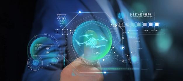 Steuerung und konfiguration der drohne in augmented reality. Premium Fotos
