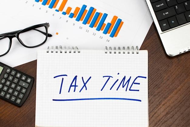 Steuerzeit auf einem notizblock und finanzdokumenten und einer tasse kaffee auf einem holztisch.