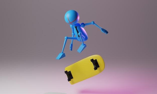 Stickman aktivität 3d-illustration design