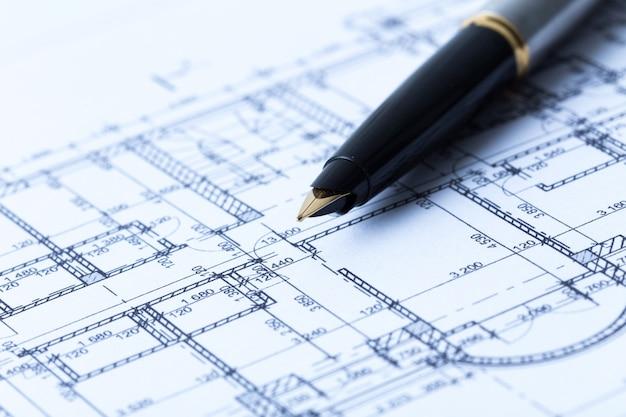 Stift und architektonische blaupausen