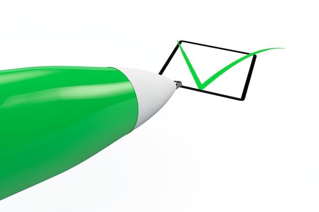 Stift zeichnet grüne markierung im checklistenfeld auf weißem hintergrund