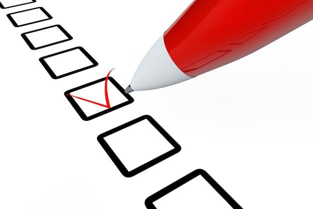 Stift zeichnet rote markierung im checklistenfeld auf weißem hintergrund