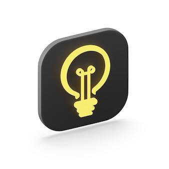 Stilisierte flache gelbe glühbirnenikone, ein schwarzer quadratischer knopf. 3d-rendering.