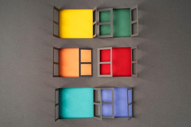Stillleben-anordnung im stil der isolierung im papierstil