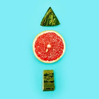Stillleben grapefruit und wassermelone minimalismus