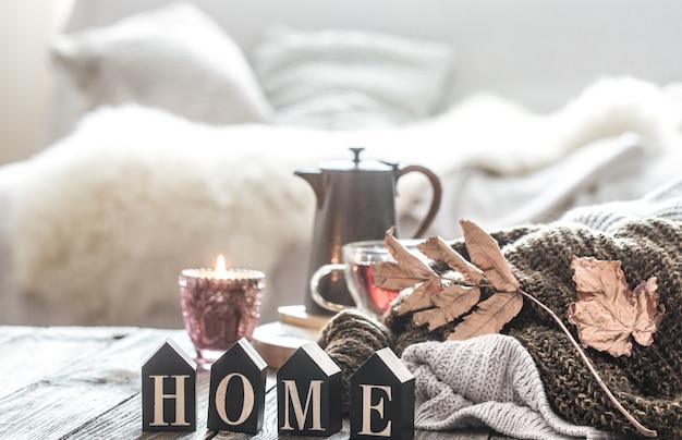 Stillleben herbststimmung in der häuslichen atmosphäre.