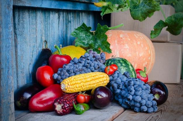 Stillleben mit mais, trauben, auberginen, kürbissen und paprika