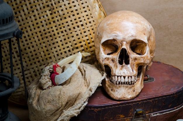 Stillleben mit menschlichem schädel und laterne