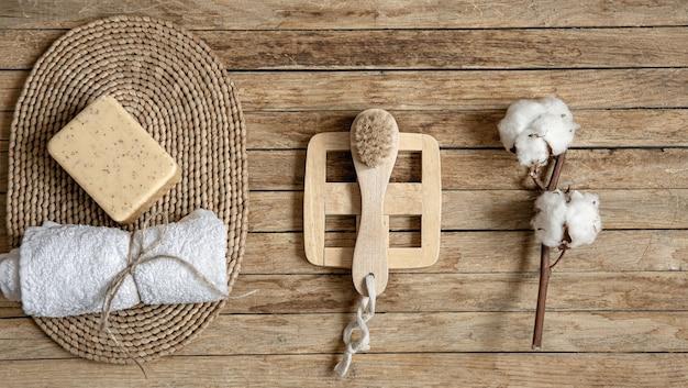 Stillleben mit natürlichen und biologischen körperpflegeprodukten hautnah. gesundheits- und schönheitskonzept.