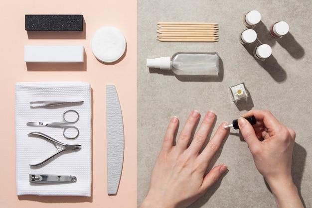 Stillleben zusammensetzung von nagelpflegeprodukten