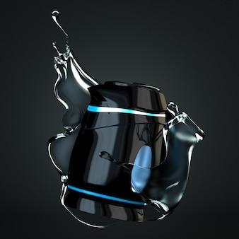 Stilvolle isolierte elektrische wasserkocher aus kunststoff auf schwarzem hintergrund. 3d-rendering.