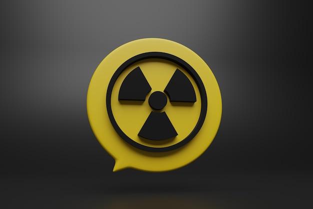 Stilvolle radioaktive 3d-symbolillustration auf gelbem rundem dialogfeld mit schwarzem hintergrund