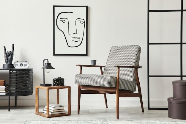 Stilvolle skandinavische wohnzimmerkomposition mit design-sessel, schwarzem rahmen, kommode, holzhocker, buch, dekoration, loft-wand und persönlichen accessoires in moderner wohnkultur.