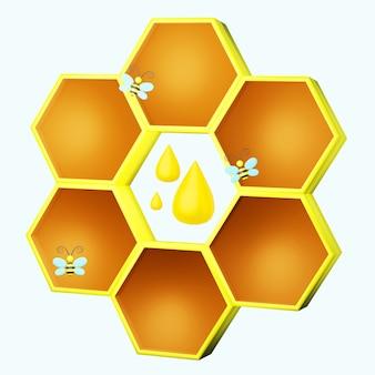 Stilvolle wabe mit bienen und honigtropfen 3d-darstellung