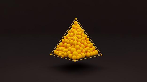 Stilvoller abstrakter schwarzer hintergrund 3d mit kugeln und designs bilden die pyramide