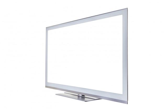 Stilvoller fernsehapparat mit einem unbelegten getrennten bildschirm für text oder bilder