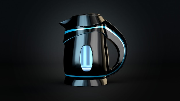 Stilvoller isolierter elektrischer plastikkessel auf einem schwarzen hintergrund. 3d-illustration, 3d-rendering.
