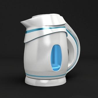 Stilvoller kunststoff-wasserkocher lokalisiert auf schwarzem hintergrund. 3d-rendering.