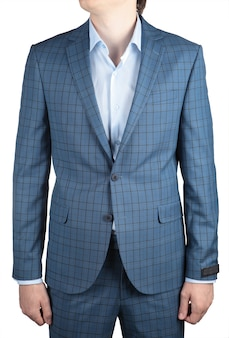 Stilvoller modischer hellblauer karierter blazer männerhochzeitsanzug lokalisiert auf weißem hintergrund.