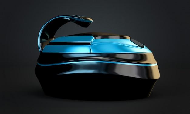 Stilvoller schwarzer hintergrund, ursprüngliches design multicooker. 3d-illustration, 3d-rendering.