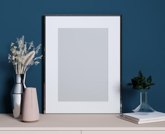 Stilvolles dekoratives set mit silbernem rahmen für modell, blaue wand, rosa regal und pflanzen, 3d-rendering
