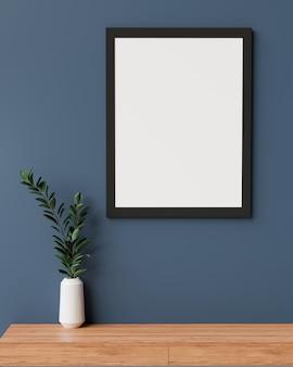 Stilvolles innendesign mit mockup-rahmen an blauer wand und pflanzenvase auf holzschreibtisch 3d-rendering