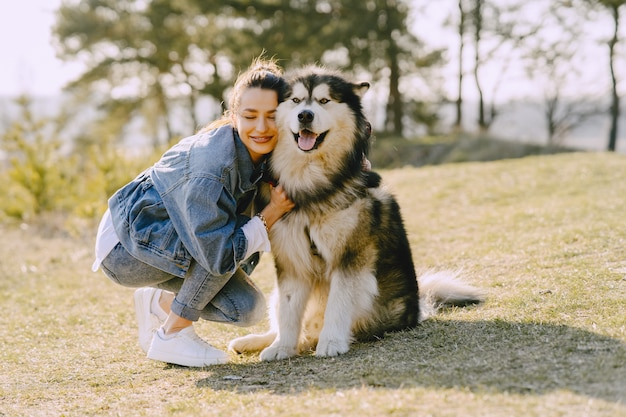 Stilvolles mädchen in einem sonnigen feld mit einem hund