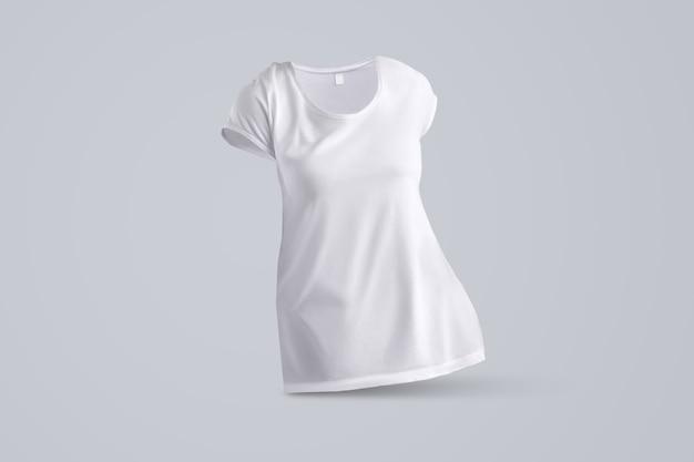 Stilvolles modell mit form des weißen weiblichen t-shirts ohne körper einzeln auf studiohintergrund, vorderansicht. vorlage kann für ihre vitrine verwendet werden.