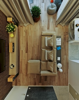 Stilvolles modernes interieur der wohnung mit schöner aussicht