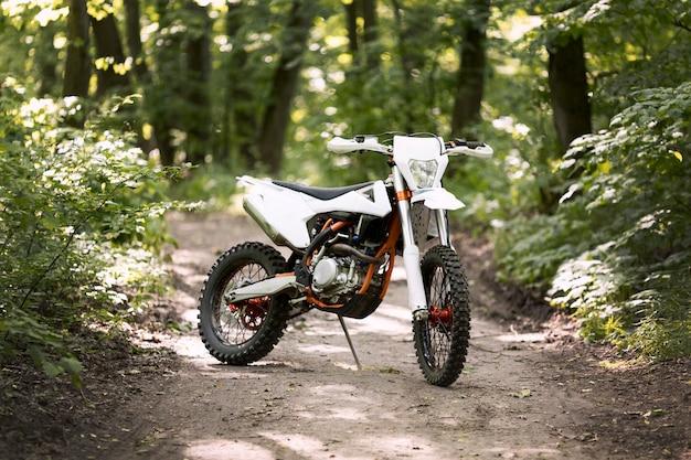 Stilvolles motorrad im wald geparkt