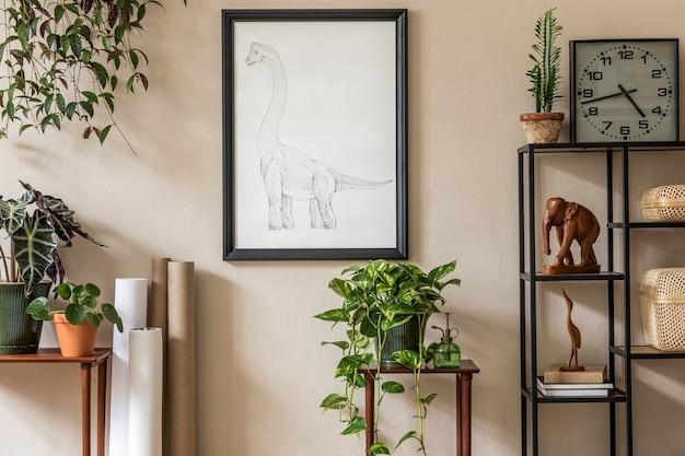 Stilvolles retro-wohnzimmer mit mock-up-posterrahmenmöbeln und eleganter accessoire-vorlage