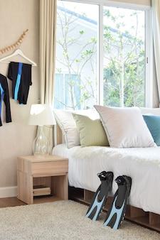 Stilvolles schlafzimmer-interieur