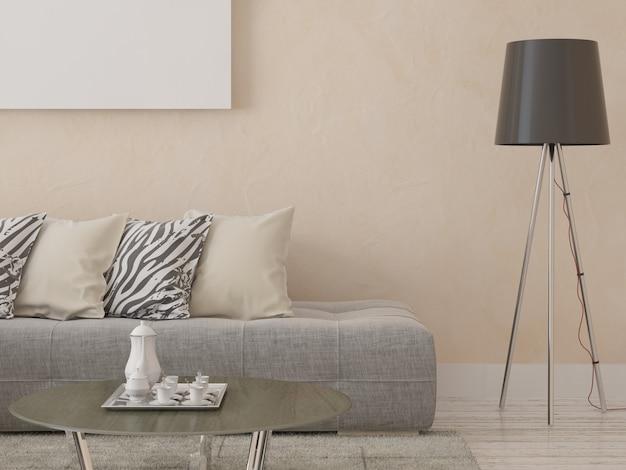 Stilvolles sofa auf einem hintergrund des dekorativen gipses