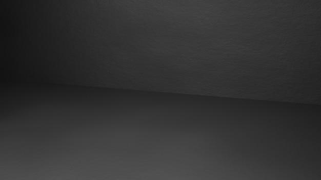 Stilvolles studiozimmer 3d, das schwarzen betonhintergrund mit abstrakter beleuchtung überträgt