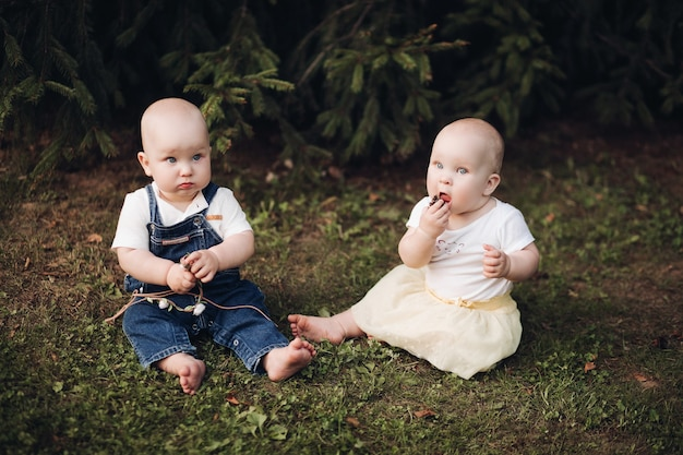Stock foto von entzückenden kleinen babys, die auf dem gras im wald sitzen. kleiner bruder und schwester essen beeren beim sitzen auf grünem gras im wald.