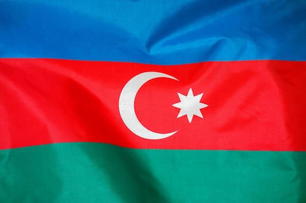 Stoff textur flagge von aserbaidschan.
