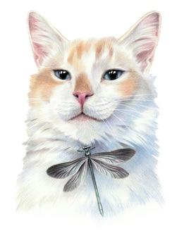 Stolze katze mit libelle. farbskizze des gesichts einer katze. auf weißem hintergrund isoliert. bleistiftzeichnung kunstwerk