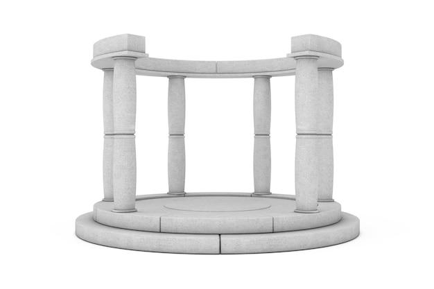 Stone antique podium mit spalten auf weißem hintergrund. 3d-rendering