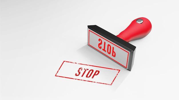 Stop gummistempel 3d-rendering