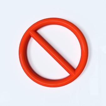 Stop-schild-symbol keine rote warnung 3d-darstellung